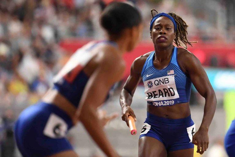 U.S. sprinter Jessica Beard running in race