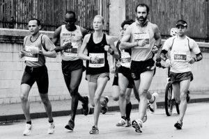 men and women in a race