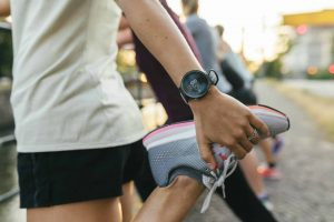 Women running in the city